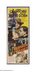 "Movie Posters:War, Reunion in France (MGM, 1942). Insert (14"" X 36"") John Wayne andJoan Crawford starred in the this romantic war drama set in..."