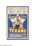 "Movie Posters:Western, Texans, The (Paramount, 1938). Window Card (14"" X 22""). JoanBennett and Randolph Scott are featured against the Lone Star o..."