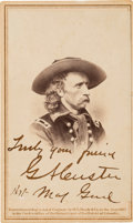 Photography:CDVs, George Custer Carte de Visite Signed with Rank.. ...