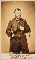 Photography:CDVs, Ulysses S. Grant Wearing Mourning Band Carte de Visite Signed...