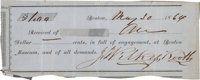 John Wilkes Booth Receipt Signed