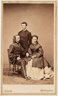 George Armstrong Custer with His Wife Libbie and Brother Tom Carte de Visite