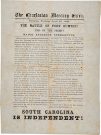 """Major Anderson Surrenders - South Carolina Is Independent"" The Charleston Mercury Extra One"