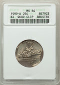 Errors, 1999-D 25C New Jersey Statehood Quarter -- Quadruple Clip, Broadstruck -- MS64 ANACS....