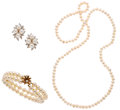Estate Jewelry:Lots, Cultured Pearl, Diamond, Gold Jewelry . ... (Total: 3 Items)