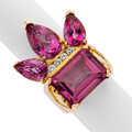 Estate Jewelry:Rings, Pink Topaz, Diamond, Gold Ring The ring featur...