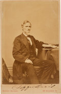 Photography:Cabinet Photos, Jefferson Davis Cabinet Card Signed ...