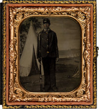 Sixth Plate Tintype of a Union Soldier with a Bayoneted Rifle