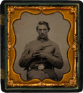 Photography:Tintypes, Sixth Plate Tintype of a Union Soldier Posed with a Pistol. ...