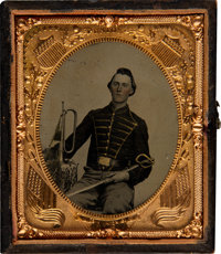 Sixth Plate Tintype of a Union Bugler Posed with His Instrument and a Sword