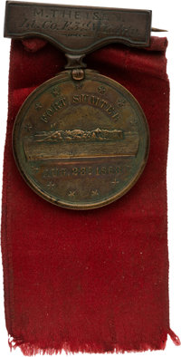 Private Mathias Tyson, 3rd New York Light Artillery, Gillmore Medal with Original Ribbon and Pin with Leather Wallet...