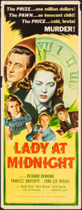 """Movie Posters:Mystery, Lady At Midnight (Eagle Lion, 1948). Rolled, Fine/Very Fine. Insert (14"""" X 36""""). Mystery.. ..."""