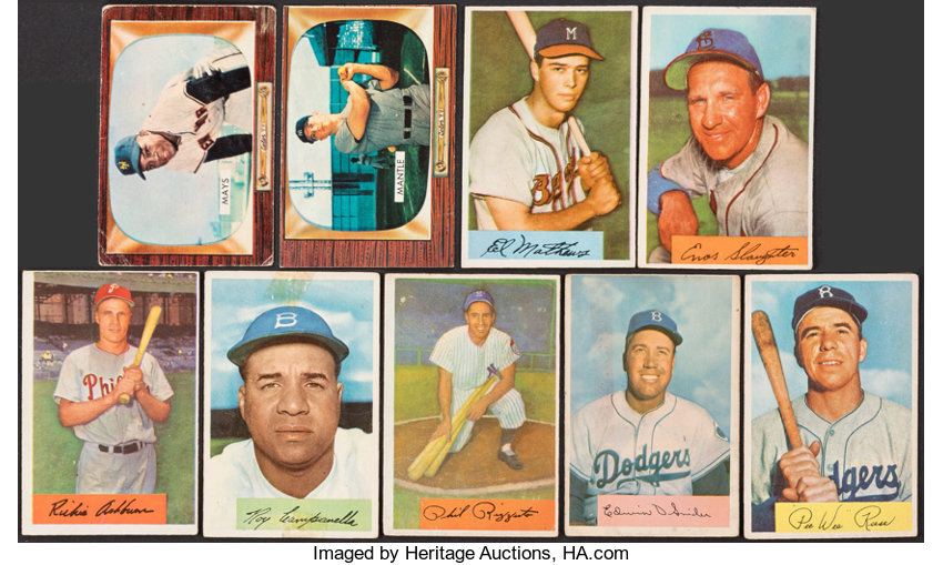 1954 1955 Bowman Baseball Stars Hofers 9 With Mays Mantle