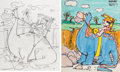 Animation Art:Concept Art, The Flintstones Fred Flintstone Playskool Concept Art Group of 2 (Hanna-Barbera, 1980).... (Total: 2 Items)