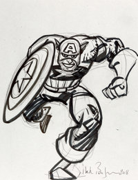 Mark Badger Captain America and Thor Marker Sketches Original Art Group of 2 (2018).... (Total: 2 Original Art)