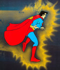 Animation Art:Production Cel, Super Friends Superman Production Cel (Hanna-Barbera, c. 1970s-1980s). ...