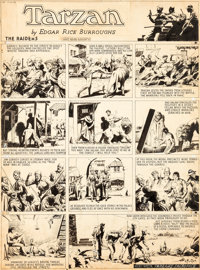 Hal Foster Tarzan #281 Sunday Comic Strip Original Art dated 7-26-36 (United Feature Service, 1936)