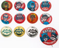 Memorabilia:Superhero, Batman Pinback Group of 12 (DC, 1966).... (Total: 12 Items)