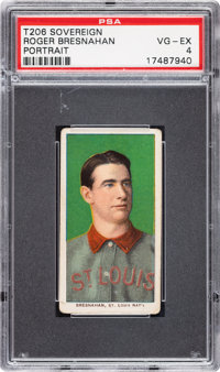 1909-11 T206 Sovereign 150 Roger Bresnahan (Portrait) PSA VG-EX 4 - Pop Two, None Higher for Brand/Series