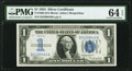Fr. 1606 $1 1934 Silver Certificate. PMG Choice Uncirculated 64 EPQ
