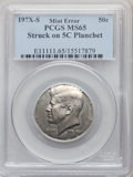 Errors, 197?-S 50C Kennedy Half Dollar -- Struck on a Five Cent Planchet -- MS65 PCGS. The tops of the date digits are present, but...