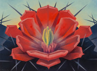 Ed Mell (American, b. 1942) Red Hedgehog, Cactus Flower Oil on canvas 16 x 22 inches (40.6 x 55.9 cm) Signed lower l