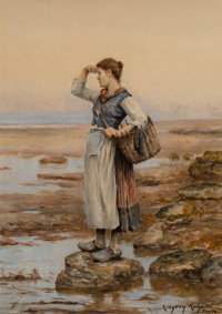 Daniel Ridgway Knight (American, 1839-1924) The Water Carriers Watercolor on paper 13-1/2 x 10-5/