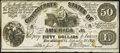 Confederate Notes:1861 Issues, CT14/75E Counterfeit $50 1861 Fine.. ...