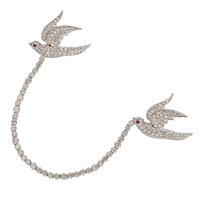 Diamond, Synthetic Ruby, White Gold Brooch