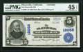 National Bank Notes:California, Placerville, CA - $5 1902 Plain Back Fr. 608 The Placerville NB Ch. # 12056 PMG Choice Extremely Fine 45 EPQ.. ...