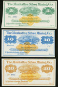 Obsoletes By State:Nevada, Austin, NV- Manhattan Silver Mining Co. $5; $10; $20 187_ Remainders Choice About Uncirculated or Better.. ... (Total: 3 notes)