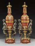 Lighting, A Pair of Gagneau Gilt Bronze Mounted Marble Oil Lamps, Paris, late 19th century. Marks to lamp fitting: GAGNEAU. 29 x 1... (Total: 2 Items)
