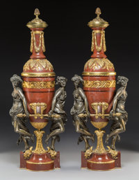 A Pair of Gagneau Gilt Bronze Mounted Marble Oil Lamps, Paris, late 19th century Marks to lamp fitting: GAGNEAU