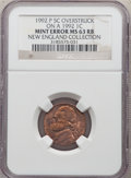 Errors, 1992-P 5C Jefferson Nickel -- Overstruck on a 1992 Cent -- MS63 Red and Brown NGC. Ex: New England Collection. The nickel i...