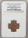 Errors, 1982-P 5C Jefferson Nickel -- Overstruck on a Struck Cent -- MS65 Red NGC. Lincoln gazes southwest relative to Monticello. ...