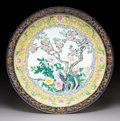 Ceramics & Porcelain, A Chinese Canton Enameled Copper Tray, Qing Dynasty. 14-1/4 inches (36.2 cm). ...