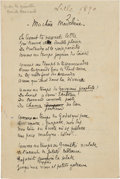 "Books:Manuscripts, Émile Bernard. Ma chere Madeleine. Autograph Poem. AM. Fourpages in French, 4.25"" x..."