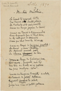 "Émile Bernard. Ma chere Madeleine. Autograph Poem. AM. Four pages in French, 4.25"" x 6.5"", Lille; [ca..."