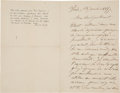 """Books:Manuscripts, Paul Cezanne. Autograph Letter Signed. """"P. Cezanne."""" Two pages (of a bifolium) in French, 4.5"""" x 7"""", Paris; January 13, ..."""