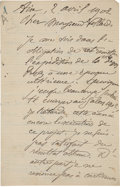 "Books:Manuscripts, Paul Cezanne. Autograph Letter Signed. ""Paul Cezanne."" Two pages (of a bifolium) in French, 5""x 8"", Aix; April 2, 1902...."