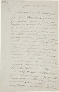 "Books:Manuscripts, Gustave Courbet. Autograph Letter Signed. ""Gustave Courbet."" Two pages (of a bifolium) in French, 5.25"" x 8.25"", Paris:..."