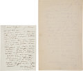 Books:Manuscripts, Camile Corot. Two Autograph Letters Signed. . ...