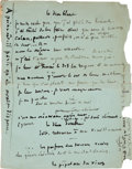 Books:Manuscripts, Victor Hugo. Autograph Manuscript. One page in French on the verso of the green front wrapper of Assemblée Générale des Ac...
