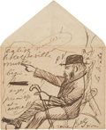 Books:Manuscripts, Paul Verlaine. Autograph Letter Signed and Drawing Signed. . ...