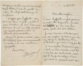 "Books:Manuscripts, Joris-Karl Huysmans. Autograph Letter Signed.""JKHuysmans.""..."
