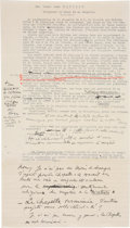 Books:Manuscripts, Henri Matisse. Copy of Typewritten Letter and Handwritten Corrections on Draft of Article. . ...