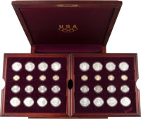 Complete 32-Piece 1995-1996 Atlanta Olympics Commemorative Set, Proof and Uncirculated, in Cherry Wood Box