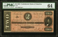 Confederate Notes:1864 Issues, T70 $2 1864 PMG Choice Uncirculated 64.. ...
