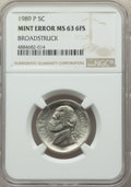 1989-P 5C Jefferson Nickel -- Broadstruck -- MS63 Full Steps NGC. Ex: New England Collection