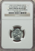 1943-S 5C Jefferson Nickel -- Struck on a Steel Cent Planchet -- MS66 Full Steps NGC. 2.9 gm. Ex: New England Collection...